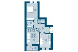 ЖК Київський: планування 2-кімнатної квартири 57.26 м²