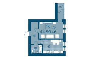 ЖК Київський: планування 1-кімнатної квартири 43.66 м²