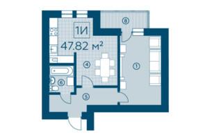 ЖК Київський: планування 1-кімнатної квартири 46.13 м²