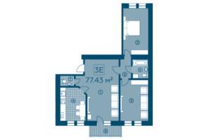 ЖК Київський: планування 3-кімнатної квартири 77.43 м²