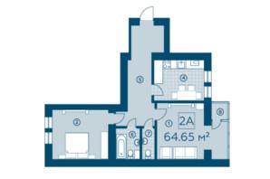 ЖК Київський: планування 2-кімнатної квартири 64.65 м²