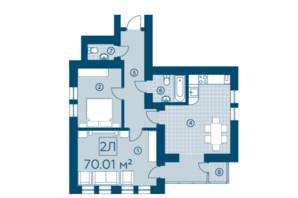 ЖК Київський: планування 2-кімнатної квартири 70.01 м²