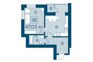 ЖК Київський: планування 1-кімнатної квартири 47.03 м²