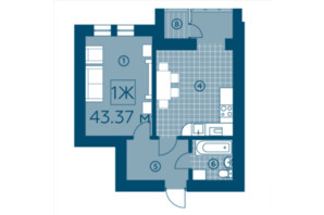 ЖК Київський: планування 1-кімнатної квартири 43.37 м²