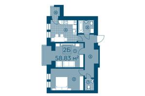 ЖК Київський: планування 2-кімнатної квартири 58.83 м²