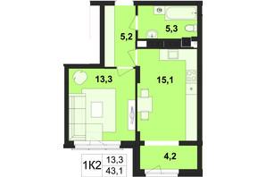 ЖК Київський: планування 1-кімнатної квартири 43.1 м²