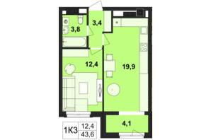ЖК Київський: планування 1-кімнатної квартири 43.6 м²