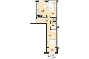 ЖК Київський: планування 2-кімнатної квартири 60.7 м²