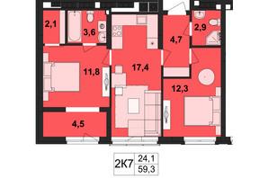 ЖК Київський: планування 2-кімнатної квартири 59.3 м²