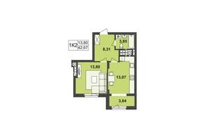 ЖК Київський: планування 1-кімнатної квартири 42.67 м²