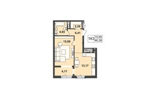 ЖК Київський: планування 1-кімнатної квартири 46.38 м²
