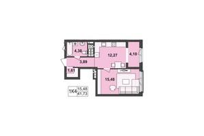 ЖК Київський: планування 1-кімнатної квартири 41.73 м²