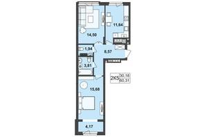ЖК Київський: планування 2-кімнатної квартири 60.31 м²