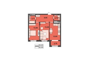 ЖК Київський: планування 2-кімнатної квартири 60.89 м²