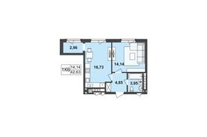 ЖК Київський: планування 1-кімнатної квартири 42.63 м²