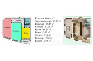 ЖК Київський: планування 2-кімнатної квартири 64.6 м²