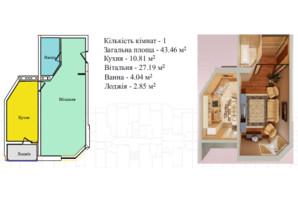 ЖК Київський: планування 1-кімнатної квартири 43.46 м²