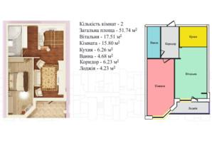 ЖК Київський: планування 1-кімнатної квартири 51.74 м²