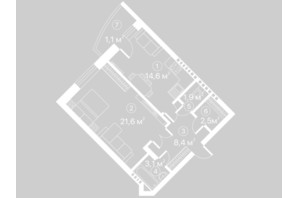 ЖК Київський шлях: планування 1-кімнатної квартири 53.2 м²