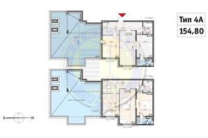 ЖК Кирилівський Гай: планування 4-кімнатної квартири 154.8 м²