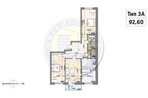 ЖК Кирилівський Гай: планування 3-кімнатної квартири 92.6 м²