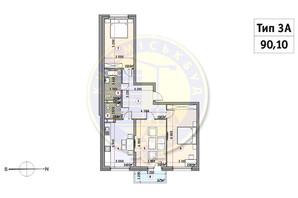 ЖК Кирилівський Гай: планування 3-кімнатної квартири 90.1 м²