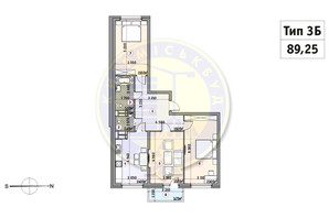 ЖК Кирилівський Гай: планування 3-кімнатної квартири 89.25 м²