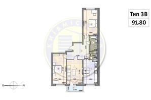 ЖК Кирилловский Гай: планировка 3-комнатной квартиры 91.8 м²