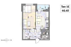 ЖК Кирилловский Гай: планировка 1-комнатной квартиры 46.4 м²