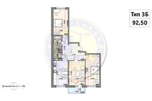 ЖК Кирилловский Гай: планировка 3-комнатной квартиры 92.5 м²