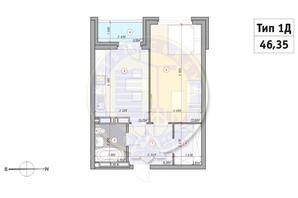 ЖК Кирилловский Гай: планировка 1-комнатной квартиры 46.35 м²