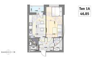 ЖК Кирилловский Гай: планировка 1-комнатной квартиры 46.85 м²