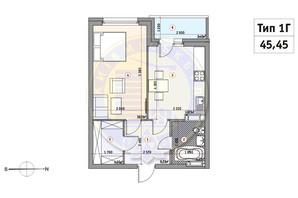 ЖК Кирилловский Гай: планировка 1-комнатной квартиры 45.45 м²