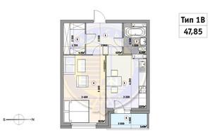 ЖК Кирилловский Гай: планировка 1-комнатной квартиры 47.85 м²
