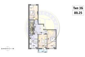 ЖК Кирилловский Гай: планировка 3-комнатной квартиры 89.25 м²