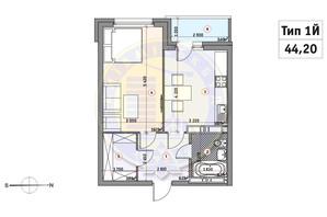 ЖК Кирилловский Гай: планировка 1-комнатной квартиры 44.2 м²