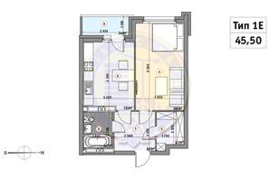 ЖК Кирилловский Гай: планировка 1-комнатной квартиры 45.5 м²