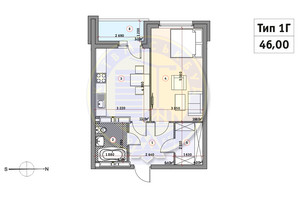 ЖК Кирилловский Гай: планировка 1-комнатной квартиры 46 м²