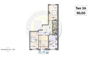 ЖК Кирилловский Гай: планировка 3-комнатной квартиры 90 м²