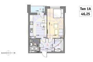 ЖК Кирилловский Гай: планировка 1-комнатной квартиры 46.25 м²