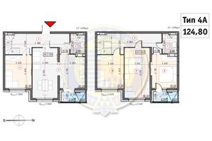 ЖК Кирилловский Гай: планировка 4-комнатной квартиры 124.8 м²