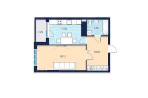 ЖК LAKE HOUSE: планировка 1-комнатной квартиры 49.73 м²