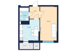 ЖК LAKE HOUSE: планировка 1-комнатной квартиры 46.07 м²