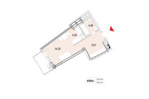 ЖК La Mer: планування 1-кімнатної квартири 34.41 м²