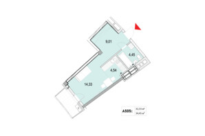 ЖК La Mer: планування 1-кімнатної квартири 34.45 м²