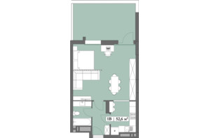 ЖК Lagom: планировка 1-комнатной квартиры 52.6 м²