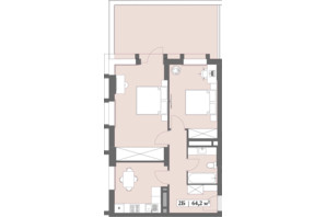 ЖК Lagom: планировка 2-комнатной квартиры 64.2 м²
