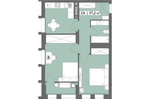 ЖК Lagom: планировка 2-комнатной квартиры 57.2 м²