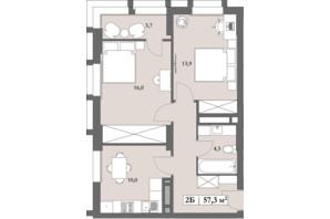 ЖК Lagom: планировка 2-комнатной квартиры 57.3 м²