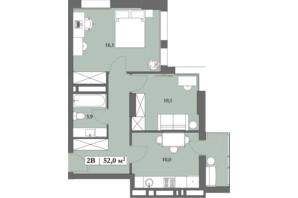 ЖК Lagom: планировка 2-комнатной квартиры 52 м²